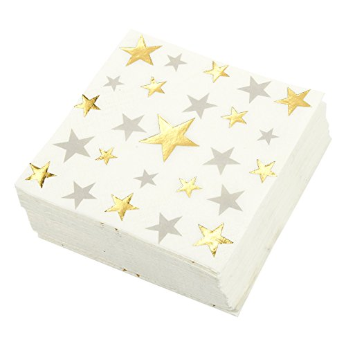 50-Pack Cocktail Napkins - Disposable Paper Party Napkins with Silver & Gold Foil Star Designs - Perfect for Anniversaries, Birthday and Special Occasions, 5 x 5 Inches - Cocktail Party Napkins