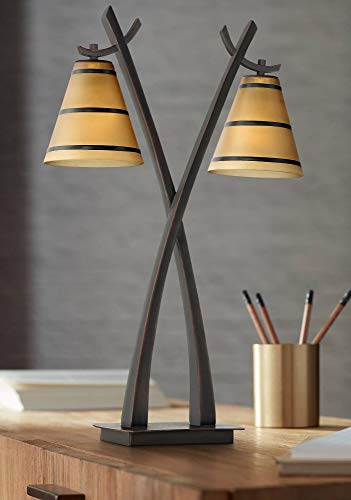 Farmhouse Amber Glass Bronze Finish 2-Light Table Lamp - Franklin Iron Works