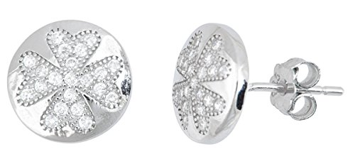 d Clover Pave Stud (4mm Round Clover Earrings)