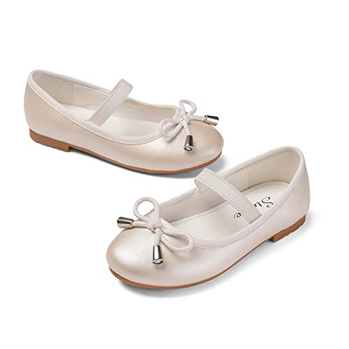 STELLE Girls Bow-Knot String Mary Jane Shoes Slip-on Party Dress Flat for Girls (Champagne, ()