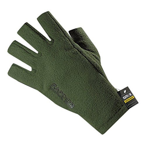 (RAPDOM Tactical Polar Fleece Half Finger Gloves, Olive Drab, Small)