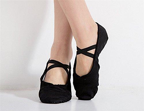 staychicfashion Damen Canvas Ballet Slippers üben Yoga flache Schuhe Split Belly Schuhe Schwarz