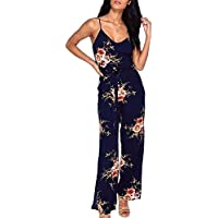 ECOWISH Womens Jumpsuits Sexy V Neck Spaghetti Strap Floral Print Jumpsuit High Split Long Pants Rompers