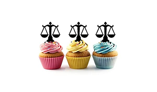Balanced Scales of Justice Symbol Lawyer Gold Set of 6 Cupcake Picks Toppers
