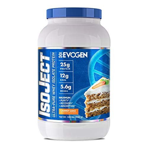 Evogen Isoject | Premium Whey Isolate Loaded with BCAA, EAA, Ignitor Enzymes, Recovery, Shakes, Smoothies | Carrot Cake
