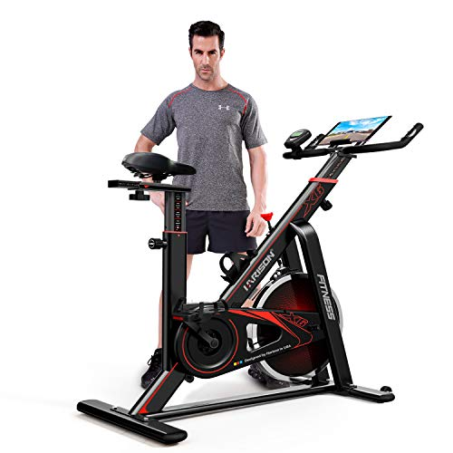 HARIOSN Indoor Cycling Exercise Bike Stationary Belt Drive Spin Bike for Cardio Home Gym Workout