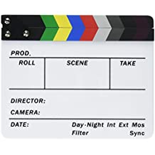 "Neewer Acrylic Plastic 8x7""/20x16cm Dry Erase Director's Film Clapboard Cut Action Scene Clapper Board Slate with Color Sticks"