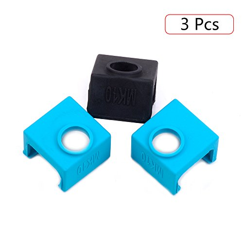 3D Printer MK10 Silicone Socks, FYSETC 3D Printer Parts Heater Block Silicone Cover Thermal Protection Silicone Sock for Wanhao i3 Mk10 Style Extruders - 3 Pack, Blue+Black by FYSETC
