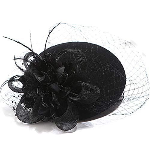 Charming Wool Simplicity Women Classic Fascinator Hair Pillbox Hat Floral Felt Cocktail Party Wedding Church