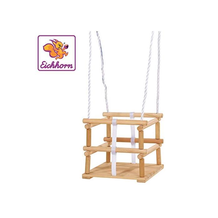 410VcJlKCGL Hecha de madera El asiento tiene un tamaño de 30 x 30 cm La longitud de la cuerda es ajustable 140-210 cm y es adecuado para niños de un año y un máximo de 20 kg