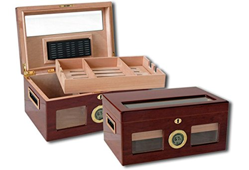 Prestige Import Group 120 Ct. Lacquer Humidor w/ Beveled Glass & Ext. Digital Hygro by Prestige Import Group