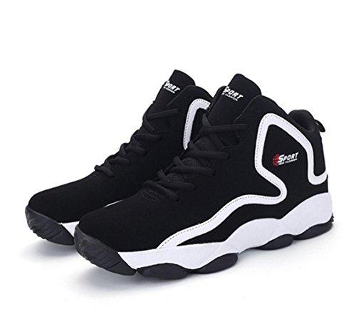 WZG la moda de alta superior zapatos de baloncesto de los nuevos hombres de la primavera, zapatos casuales zapatos transpirables de amortiguación par de zapatos deportivos modelos Black