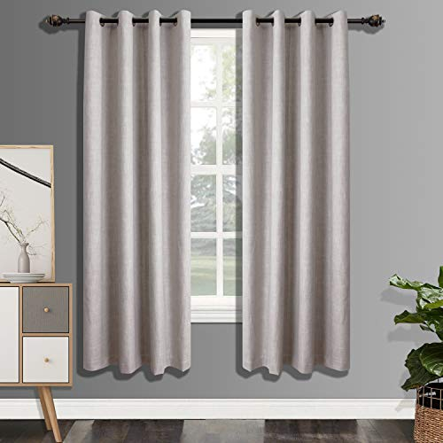 CSOFT 100% Blackout Curtains with 4 Pass Coating, Energy Efficient Thermal Insulated Window Drapery, Linen Room Darkening Curtains for Living Room Bedroom (52W X 84L Inch 2 Panels, Ivory)