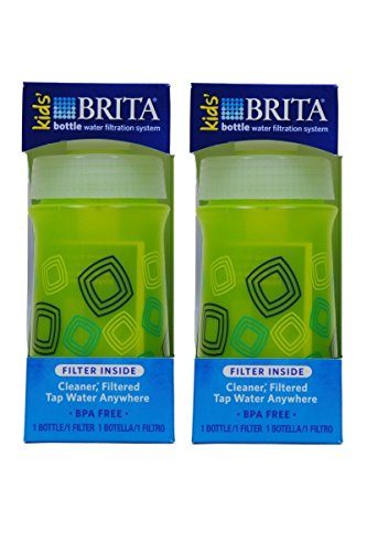 Brita Soft Squeeze Water Filter Bottle For Kids, Green Squares,13 Ounce, packof2