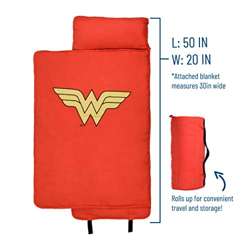 Wildkin Original Nap Mat with Pillow for Toddler Boys and Girls, Ideal for Daycare and Preschool, Measures 50 x 1.5 x 20 Inches, Mom's Choice Award Winner, BPA-Free (Wonder Woman)