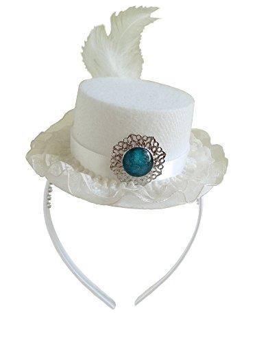 [White Queen Mini Top Hat Fascinator Alice in Wonderland Tea Party Wedding Birthday] (White Top Hat Fascinator)