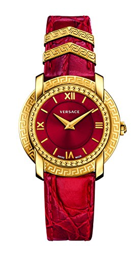 Versace Women's 'DV-25' Swiss Quartz Stainless Steel and Leather Casual Watch, Color:Red (Model: VAM020016)