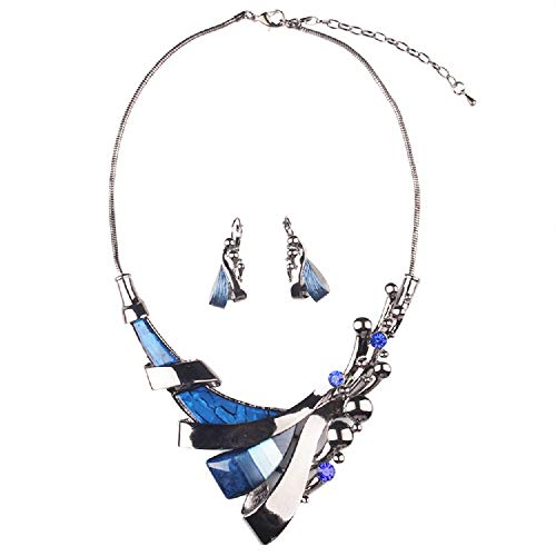 Vintage Geometric Blue gem Short Collar Bone Necklace Earrings Set Jewelry Fashion Costume Jewelry Women Prom Party Unique Gift Idea]()