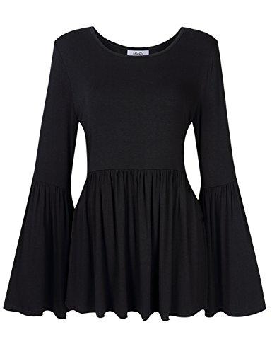 MissQee Women Plus Size Bell Sleeve Ruffle Blouse Flare Peplum Top Black 2XL