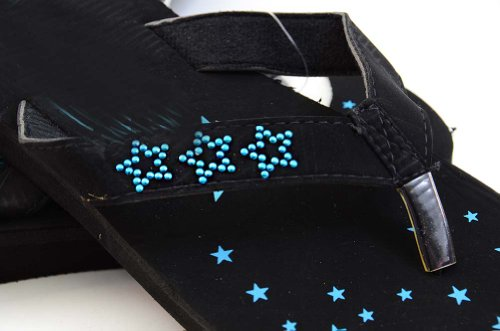 Sandalias De Playa Con Lentejuelas Estrelladas Sandalias De Playa Fourever Funky Blue