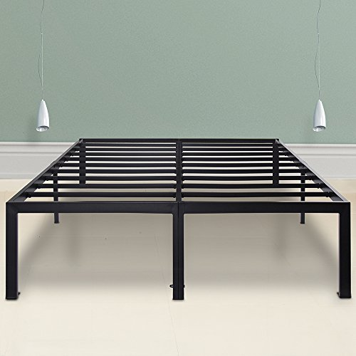 Sleeplace SVC18BF04C 18 Inch Tall Heavy Duty Steel Slat Support/ Non-Slip Features/Modern Black/Bedroom Basic/3000-ST, Cal King - Leather Cal King Bed