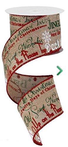 Christmas Carol Ribbon Jingle Bells Deck the Halls Burlap 2.5