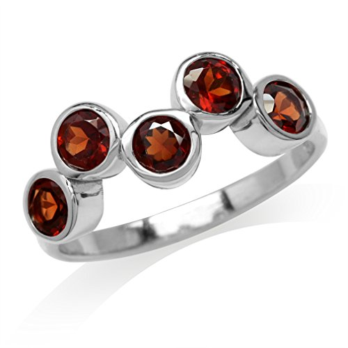 1.7ct. 5-Stone Natural Garnet White Gold Plated 925 Sterling Silver Bezel Set Ring Size 8