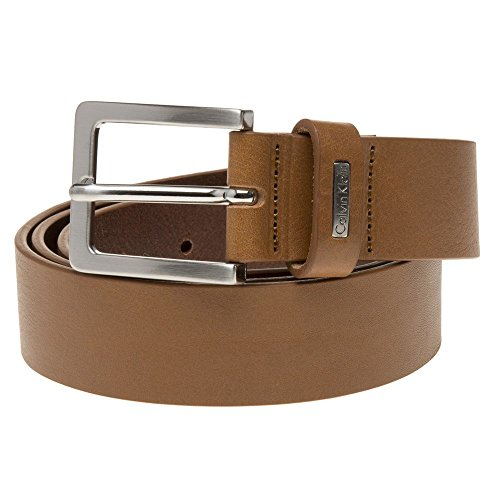 Cognac Mino 3 Leather Belt by Calvin Klein - Extra Large Calvin Klein Embossed Belt