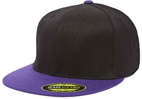 - Flexfit Premium 210 Fitted Ballcap | Flat Brim, Wool Blend, Baseball Cap w/Hat Liner (Large/X-Large) Black/Purple