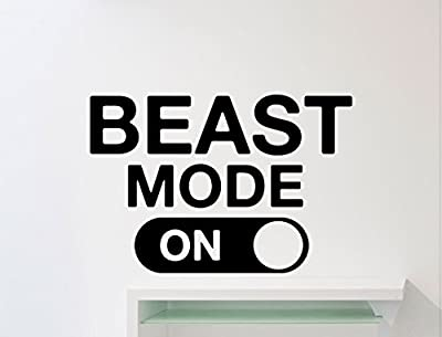 Ditooms Beast Mode Wall Decal Fitness Gym Motivational Quote Vinyl Sticker Home Crossfit Sport Poster Workout Inspirational Art Decor Mural