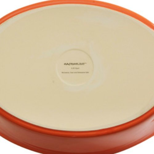 Rachael Ray Stoneware 2-3/4-Quart Covered Bubble and Brown Casserround Casserole, Red