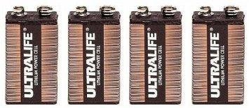 Four (4) Ultralife 9v Long Life Lithium Battery