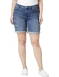 Womens Plus Mid-Rise Distressed Denim Shorts