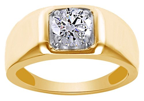 Jewel Zone US Moissanite 1.28 Carat Diamond Equivalent Weight Round Brilliant Cut 14k Yellow Gold Over Sterling Silver Ring Men ()