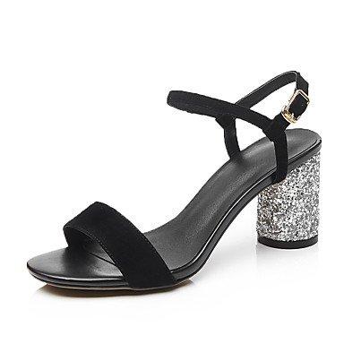 LvYuan Tacón Robusto-Zapatos del club-Sandalias-Oficina y Trabajo Vestido Informal-Cachemira-Negro Gris Black