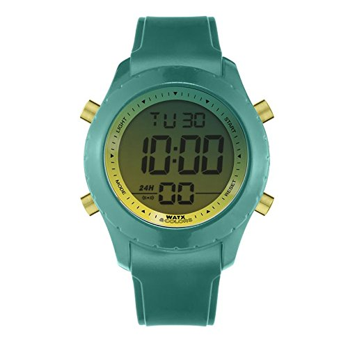 Reloj digital para mujer y hombre de WatxandCo. Con correa de silicona verde efecto charol