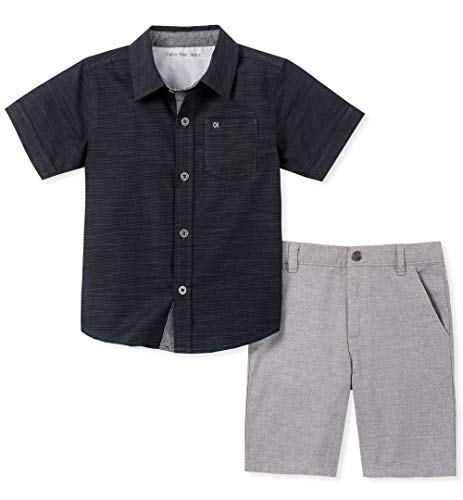 Calvin Klein Boys' Toddler 2 Pieces Shirt Shorts Set, Black, 4T