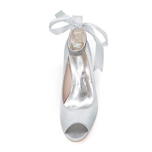 mehr Farben Perle Sandalen Satin Bowknot Wedge Frauen Schuhe L mit Ferse Purple YC und Imitation Hochzeit wCRqf6Oxp