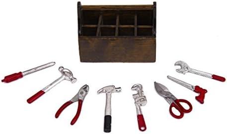 1:12 8PCS Metal Tools In Wood Tool Box Set Miniature Dollhouse Accessories Gift