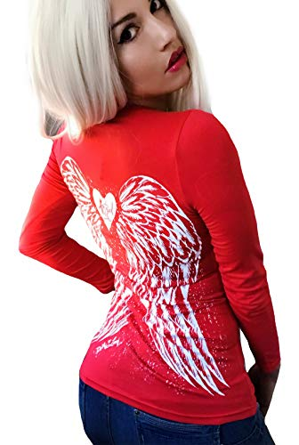 Demi Loon Gothic Pinup Sexy Biker Casual T-Shirt | Graphic Tee (S, Red Angel V-Neck) ()