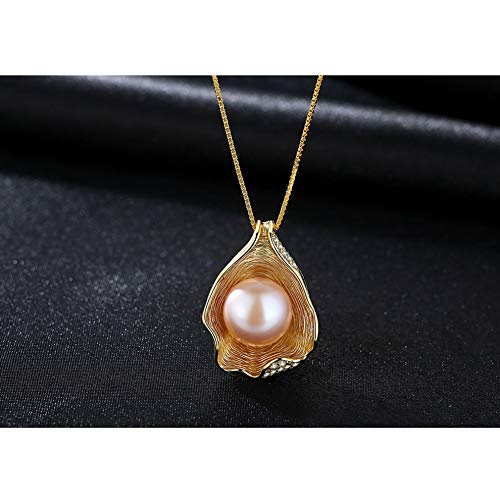 Pearl Pendant Necklace Shell Design Round Pearls 925 Sterling Silver for Women Fashion Jewellery,Pink
