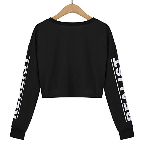 Print Blouse Sweatshirt Women Black Crop Letter Fashion White Top 0pnpX6t1q