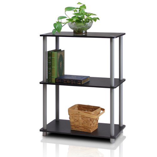 - Furinno 10024BK/GY Turn-N-Tube 3-Tier Compact Multipurpose Shelf Display Rack, Black/Grey