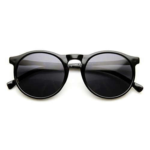 zeroUV - Vintage Inspired Fashion P3 Shaped Round Circle Sunglasses w/ Key-Hole Bridge (Shiny - Keyhole Men Sunglasses