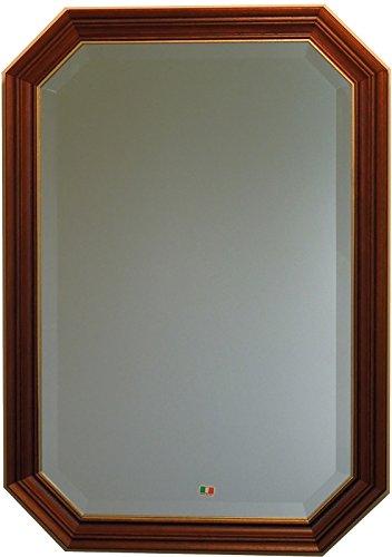イタリア製 JHAアンティーク風水ミラー シンプル (ブラウン&ゴールド) 八角形W473×H673(M) IE-54 (デラックス:面取り加工)八角ミラー 八角鏡 壁掛け鏡 ウォールミラー B01K8ZJCVEブラウン&ゴールド