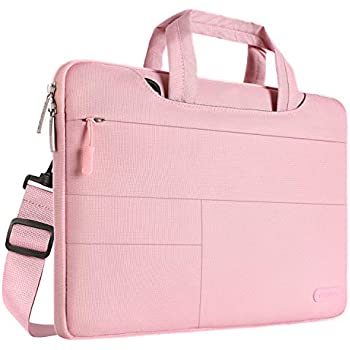 MOSISO Laptop Shoulder Bag Compatible 15-15.6 Inch MacBook Pro with Touch Bar A1990 A1707 2018 2017 2016, MacBook Pro, 14 Inch ThinkPad Chromebook, Polyester Briefcase with Storage Pockets, Pink