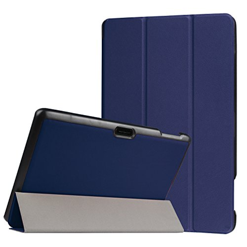 Dragon Touch X10 / KingPad K100 10.6'' Inch Case - Heavy Duty Lightweight Ultra Slim Folding Cover Kickstand PU Leather Folio Shell Full-Protective Shell for Dragon Touch X10 / KingPad K100 (navy blue) by leiminger