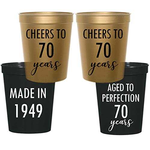 70th Birthday Stadium Plastic Cups - Made in 1949, Aged to Perfection, Cheers to 70 Years (10 -