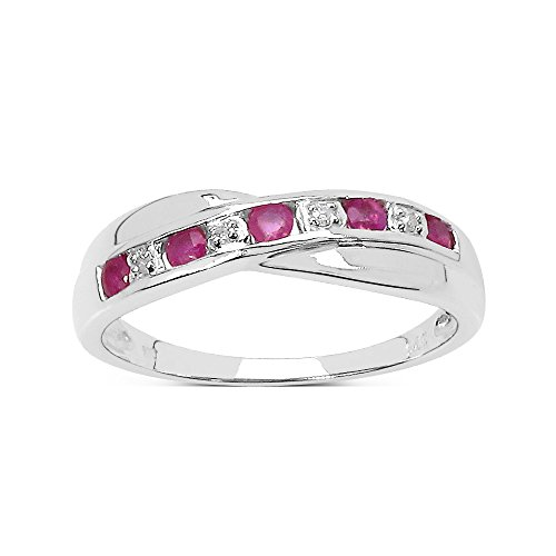 The Diamond Ring Collection: 9ct White Gold Ruby & Diamond Channel Set...