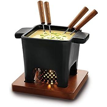 BOSKA Tea Light Tapas Fondue Set for Cheese or Chocolate, Taste Collection, Black, 14oz/400ml